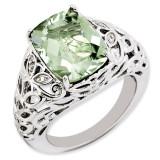 Green Quartz & Diamond Ring Sterling Silver QR3277AG