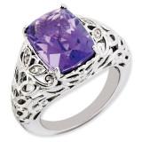 Amethyst & Diamond Ring Sterling Silver QR3277AM