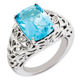 Swiss Blue Topaz & Diamond Ring Sterling Silver QR3277BT