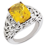 Citrine & Diamond Ring Sterling Silver QR3277CI