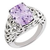 Pink Quartz & Diamond Ring Sterling Silver QR3277PQ