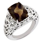 Smoky Quartz & Diamond Ring Sterling Silver QR3277SQ