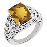 Whiskey Quartz & Diamond Ring Sterling Silver QR3277WQ