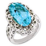 Blue Topaz Ring Sterling Silver QR3281BT