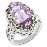 Oval Pink Quartz Ring Sterling Silver QR3281PQ
