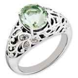 Oval Green Quartz & Diamond Ring Sterling Silver QR3282AG