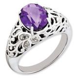 Amethyst & Diamond Ring Sterling Silver QR3282AM