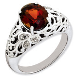 Garnet & Diamond Ring Sterling Silver QR3282GA