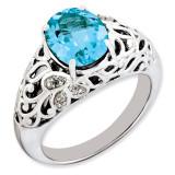 Light Swiss Blue Topaz & Diamond Ring Sterling Silver QR3282LSBT