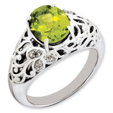 Peridot & Diamond Ring Sterling Silver QR3282PE