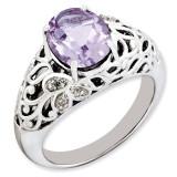 Oval Pink Quartz & Diamond Ring Sterling Silver QR3282PQ
