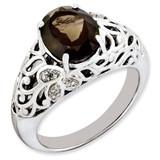 Smoky Quartz & Diamond Ring Sterling Silver QR3282SQ