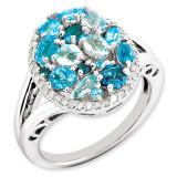 Light Swiss Blue Topaz & Diamond Ring Sterling Silver QR3283BT