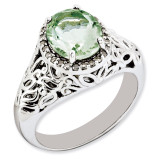 Oval Green Quartz & Diamond Ring Sterling Silver QR3285AG