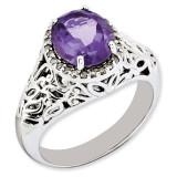 Amethyst & Diamond Ring Sterling Silver QR3285AM