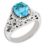 Swiss Blue Topaz & Diamond Ring Sterling Silver QR3285BT