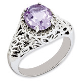 Oval Pink Quartz & Diamond Ring Sterling Silver QR3285PQ