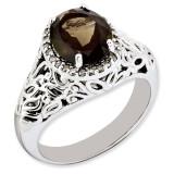 Smoky Quartz & Diamond Ring Sterling Silver QR3285SQ