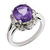 Amethyst & Diamond Ring Sterling Silver QR3313AM