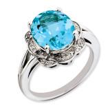 Swiss Blue Topaz & Diamond Ring Sterling Silver QR3313BT