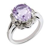 Oval Pink Quartz & Diamond Ring Sterling Silver QR3313PQ