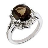 Smoky Quartz & Diamond Ring Sterling Silver QR3313SQ