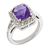 Amethyst & Diamond Ring Sterling Silver QR3314AM