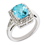 Swiss Blue Topaz & Diamond Ring Sterling Silver QR3314BT