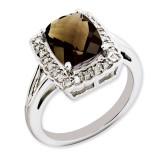 Smoky Quartz & Diamond Ring Sterling Silver QR3314SQ