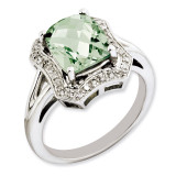 Green Quartz & Diamond Ring Sterling Silver QR3315AG