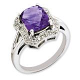 Amethyst & Diamond Ring Sterling Silver QR3315AM