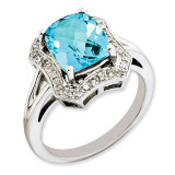 Swiss Blue Topaz & Diamond Ring Sterling Silver QR3315BT