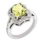 Lemon Quartz & Diamond Ring Sterling Silver QR3315LQ