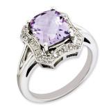 Pink Quartz & Diamond Ring Sterling Silver QR3315PQ