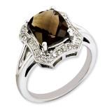 Smoky Quartz & Diamond Ring Sterling Silver QR3315SQ