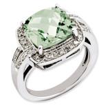 Green Quartz & Diamond Ring Sterling Silver QR3316AG