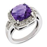 Amethyst & Diamond Ring Sterling Silver QR3316AM