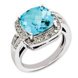 Swiss Blue Topaz & Diamond Ring Sterling Silver QR3316BT