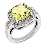 Lemon Quartz & Diamond Ring Sterling Silver QR3316LQ