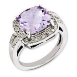Pink Quartz & Diamond Ring Sterling Silver QR3316PQ