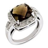 Smoky Quartz & Diamond Ring Sterling Silver QR3316SQ