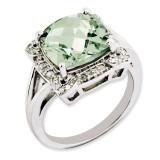 Green Quartz & Diamond Ring Sterling Silver QR3317AG