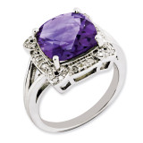 Amethyst & Diamond Ring Sterling Silver QR3317AM