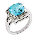 Swiss Blue Topaz & Diamond Ring Sterling Silver QR3317BT