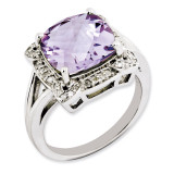 Pink Quartz & Diamond Ring Sterling Silver QR3317PQ