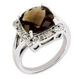 Smoky Quartz & Diamond Ring Sterling Silver QR3317SQ