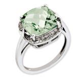 Green Quartz & Diamond Ring Sterling Silver QR3318AG