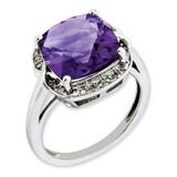 Amethyst & Diamond Ring Sterling Silver QR3318AM