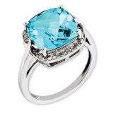 Swiss Blue Topaz & Diamond Ring Sterling Silver QR3318BT
