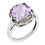 Pink Quartz & Diamond Ring Sterling Silver QR3318PQ